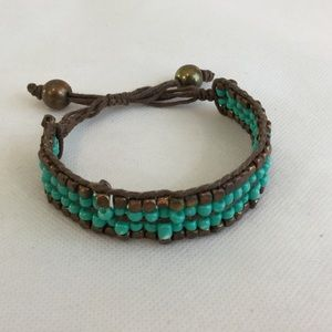 Beaded Adjustable Bracelet Turquoise/Copper/Brown